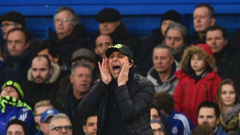 Chelsea's Italian head coach Antonio Conte gestures on the touchline during the English Premier League football match between Chelsea and Swansea at Stamfo