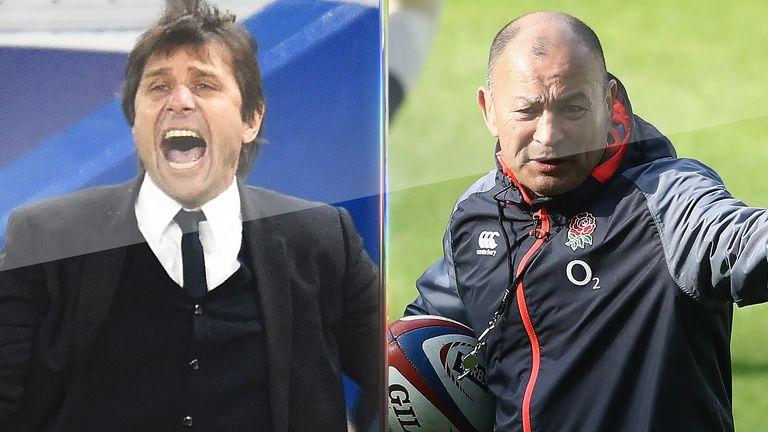 Antonio Conte visits England training and meets Eddie Jones