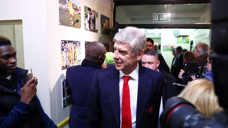SUTTON, GREATER LONDON - FEBRUARY 20:  Arsene Wenger, manager of Arsenal arrives at the stadium for the Emirates FA Cup fifth round match between Sutton Un
