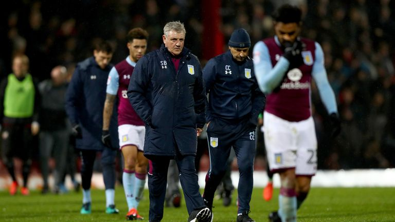 BRENTFORD, ENGLAND - JANUARY 31:  Steve Bruce of Aston Villa looks on during the Sky Bet Championship match between Brentford and Aston Villa at Griffin Pa