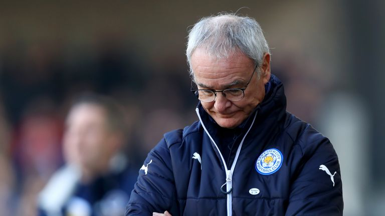LONDON, ENGLAND - FEBRUARY 18:  Claudio Ranieri, Manager of Leicester City is dejected during The Emirates FA Cup Fifth Round match between Millwall and Le