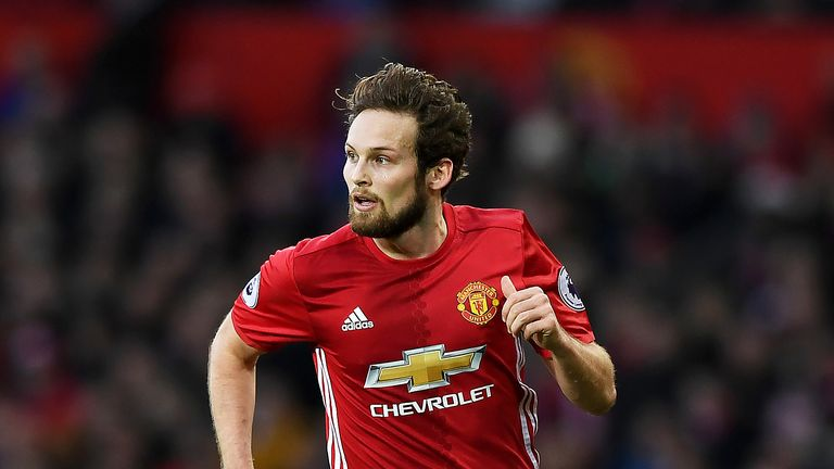 Daley Blind in action during the Premier League match between Manchester United and Sunderland at Old Trafford