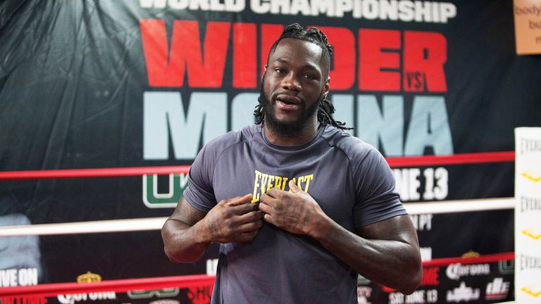 WBC World Heavyweight Champion Deontay Wilder participates in a media workout at Skyy Boxing Gym