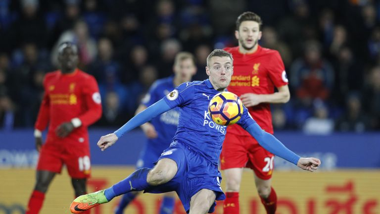 Leicester City's English striker Jamie Vardy takes a shot during the English Premier League football match between Leicester City and Liverpool at King Pow