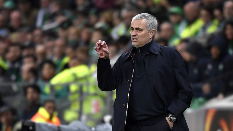 Manchester United's Portuguese coach Jose Mourinho gestures during the UEFA Europa League football match between AS Saint-Etienne and Manchester United on