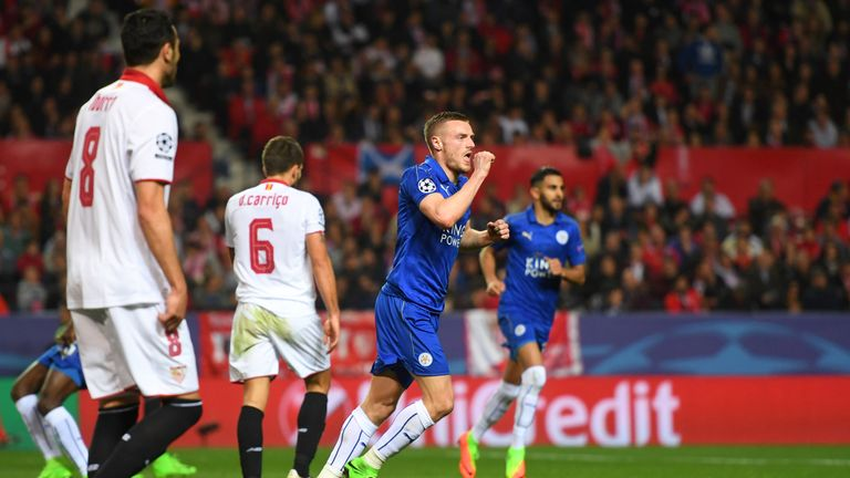 SEVILLE, ENGLAND - FEBRUARY 22:  Jamie Vardy of Leicester City celebrates after scoring his side's first goal during the UEFA Champions League Round of 16