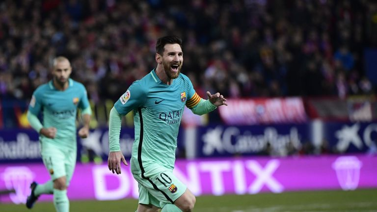 Lionel Messi celebrates Barcelona's second against Atleti