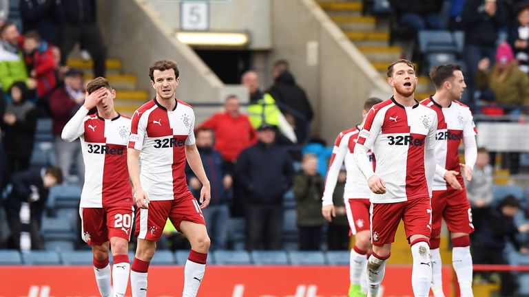 19/12/17 LADBROKES PREMIERSHIP     DUNDEE v RANGERS     DENS PARK - DUNDEE     Dejection for Rangers' Andy Halliday and Joe Garner