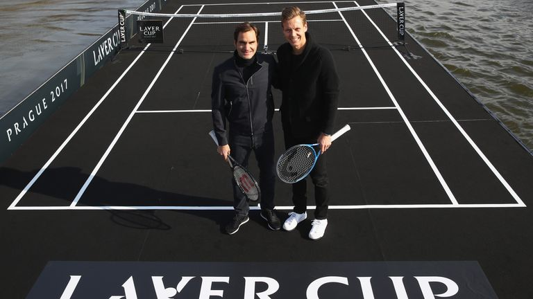 Roger Federer and Tomas Berdych pose for a photo as the countdown begins towards the Laver Cup