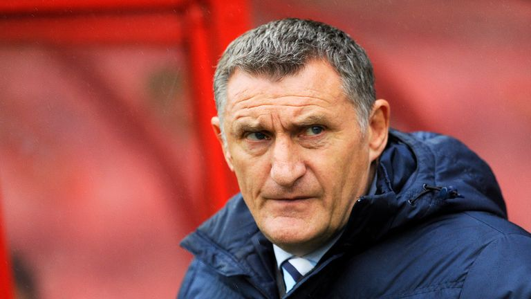 Tony Mowbray looks on during the Sky Bet League One match between Swindon Town and Coventry City