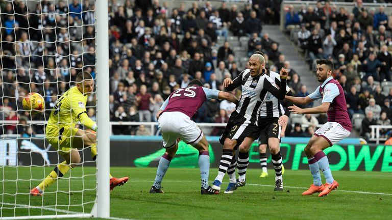 Yoan Gouffran scores Newcastle's opener against Aston Villa