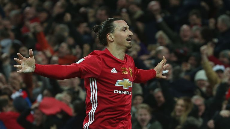 Zlatan Ibrahimovic celebrates his winner at Wembley