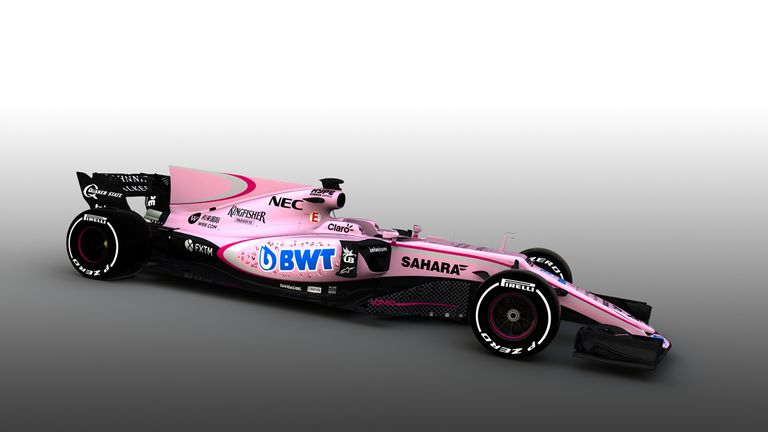 New formula one vehicle revealed - and its pink!