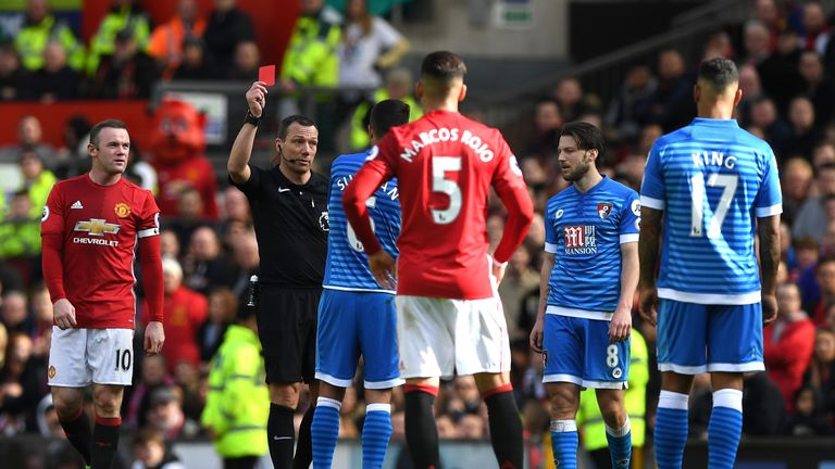 Andrew Surman was sent off at Old Trafford