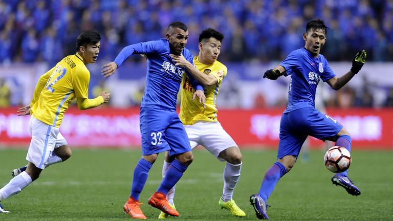 Tevez in action in the Chinese Super League