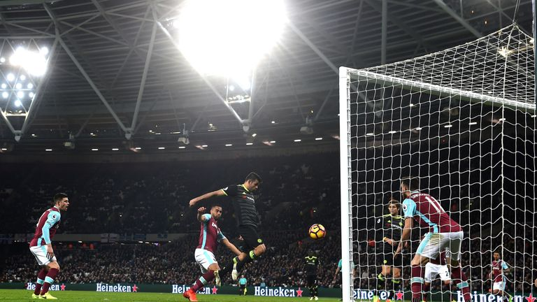 Diego Costa turns home from close range against West Ham in March
