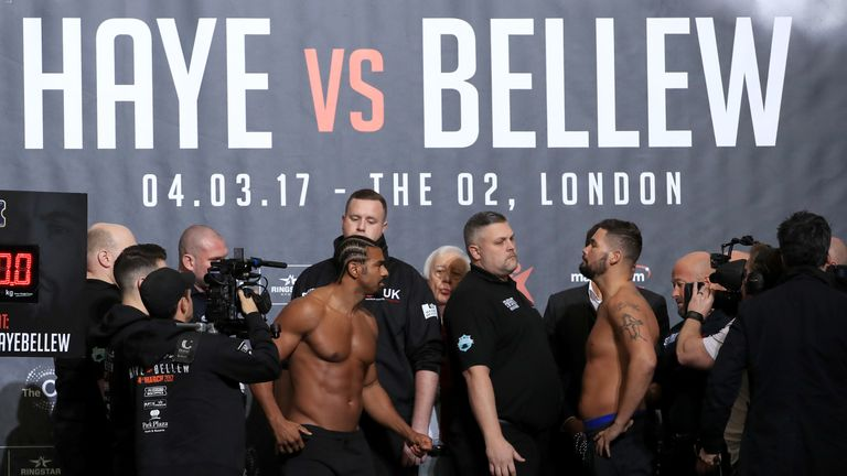 David Haye faces Tony Bellew again at Friday's weigh-in ahead of Saturday's fight, live on Sky Sports Box Office