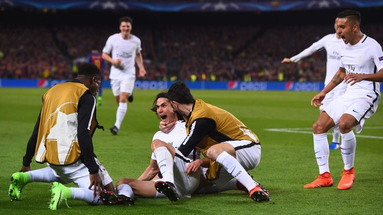 Edinson Cavani scored PSG's away goal in the second half