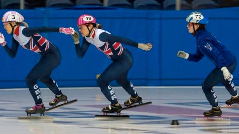 Elise (left) in training with her GB team-mates in the build-up to the World Championships