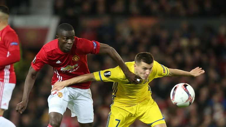 Eric Bailly battles with Rostov's Dmitriy Poloz