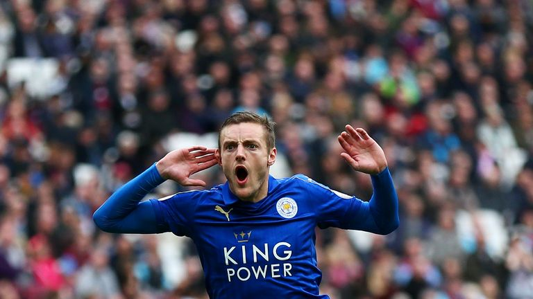 Jamie Vardy scored the first goal for Leicester at the London Stadium