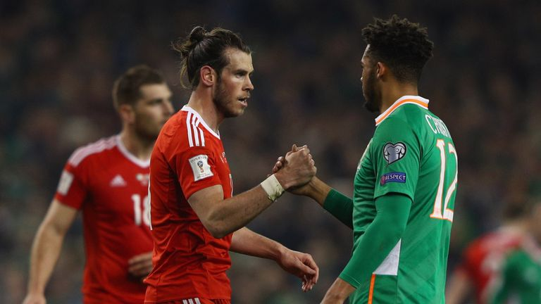 Bale and the Republic of Ireland's Cyrus Christie shake hands at the final whistle in Dublin
