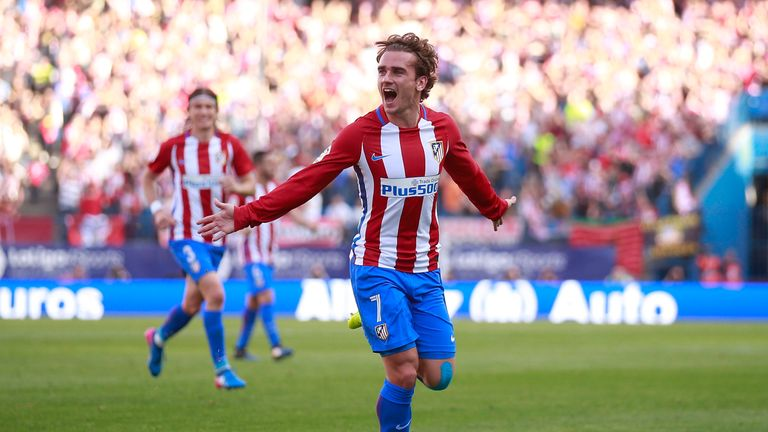 Antoine Griezmann celebrates scoring second goal