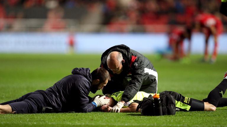 Huddersfield Town's Jonathan Hogg was treated on the pitch for 15 minutes at Bristol City on Friday night