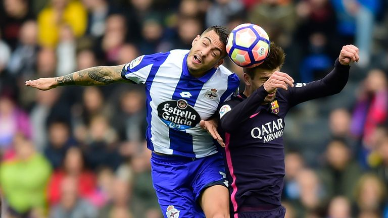 Joselu (left) scored against Barcelona and Real Madrid while on loan at Deportivo last season