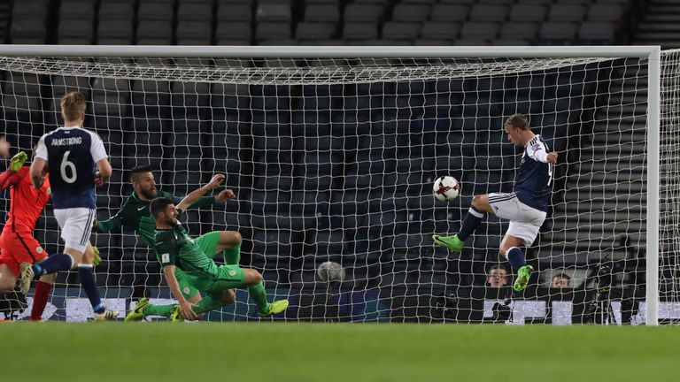 Scotland striker Leigh Griffiths of Scotland misses an opportunity against Slovenia