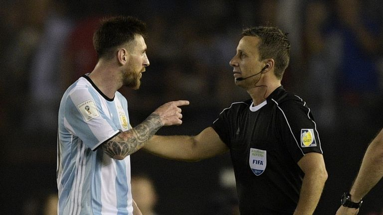 Lionel Messi (left) has seen his ban overturned for abusing official
