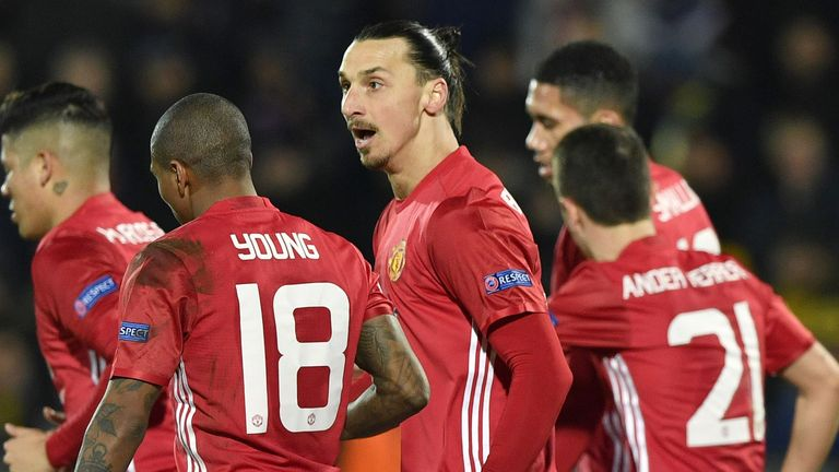 Man Utd's players celebrate after Henrikh Mkhitaryan had opened the scoring in the first-leg clash at Rostov last Thursday