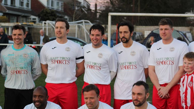 Neil Mellor (right) and Ralf Little (second right) were among those in the Kevin Davies XI (pic courtesy of David Curtis)