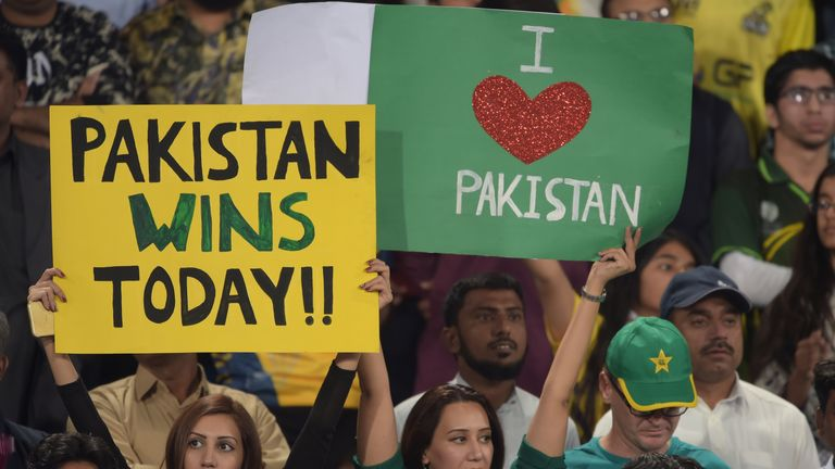 At the PSL final Pakistani spectators celebrate a major cricketing event being held again on home soil