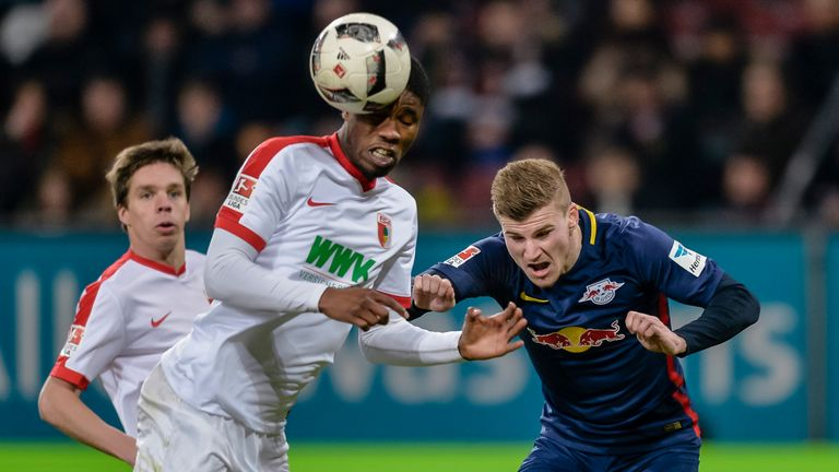 Timo Werner (right) insists he is happy where he is
