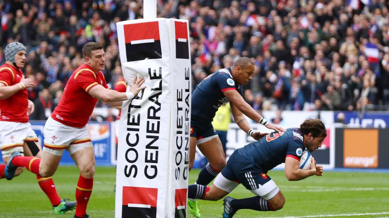 Remi Lamerat scores France's first try against Wales