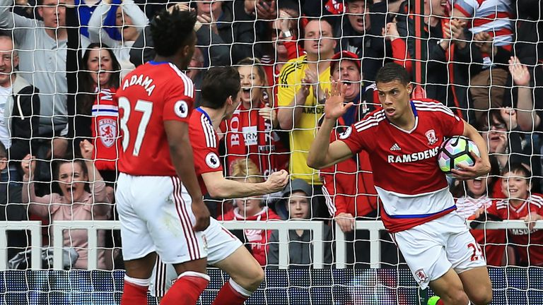 Rudy Gestede turns to celebrate after pulling a goal back for Middlesbrough