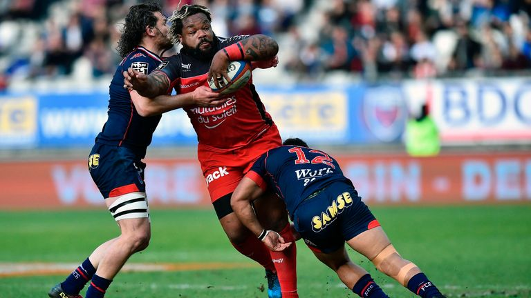 Mathieu Bastareaud is tackled by Grenoble's Nigel Hunt (right) and Fabien Alexandre