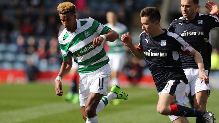 Celtic's Scott Sinclair (left) and Dundee's Cameron Kerr battle for the ball