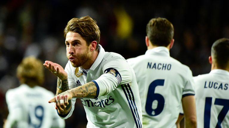 Sergio Ramos celebrates after scoring against Real Betis