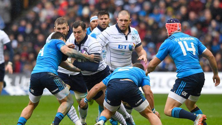 Tim Visser attacks for Scotland