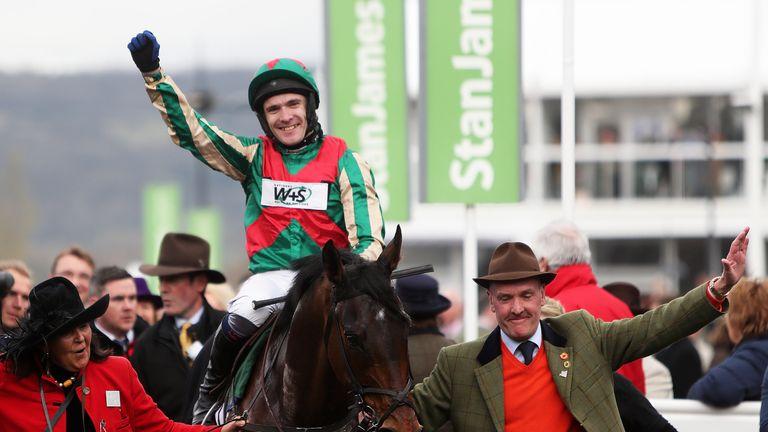 Tom Scudamore celebrates Un Temps Pour Tout's second Ultima Chase win