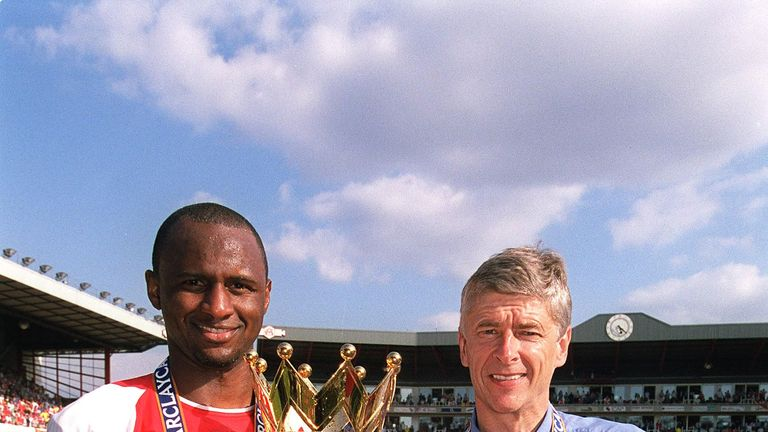 Patrick Vieira (left) won three Premier League titles at Arsenal under Arsene Wenger