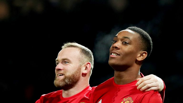 Man Utd striking duo Anthony Martial (right) and Wayne Rooney will not feature against Rostov with injury
