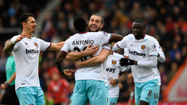 Michail Antonio (centre) is congratulated after giving West Ham the lead at Bournemouth