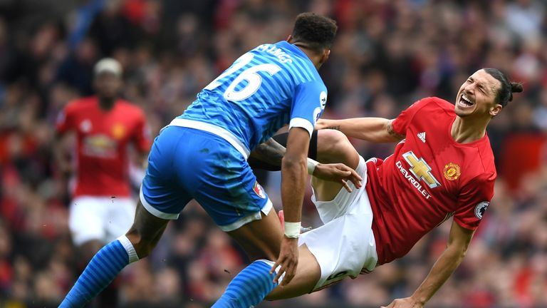 Zlatan Ibrahimovic challenged by Tyrone Mings
