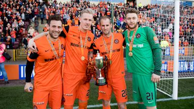 Tony Andreu, Nick Van Der Velden, Frank Van Der Struijk and Luis Zwick (l-r) celebrate cup success