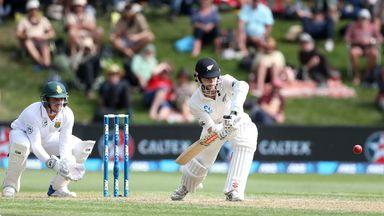 Kane Williamson bats on day two in Dunedin