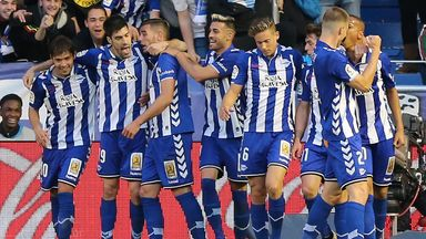 Alaves players celebrate their winning goal
