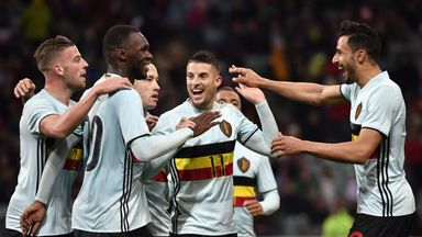 Belgium's Christian Benteke (2nd L) celebrates with teammates after scoring against Russia